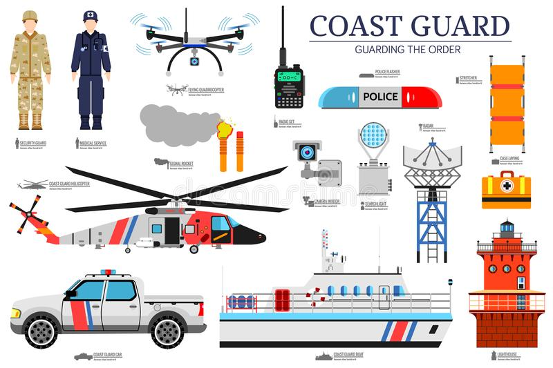 Coast guard day flat icoms set. Guarding the order background. Devices infographic concept. Layout illustrations. Template vector illustration