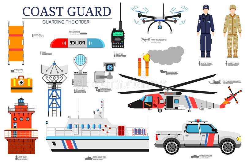 Coast guard day flat icoms set. Guarding the order background. Devices infographic concept. Layout illustrations template.  stock illustration