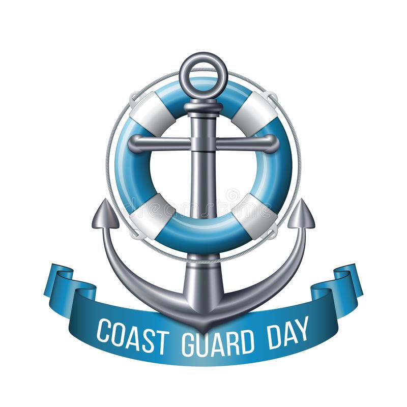 Coast guard day greeting card. Nautical emblem. With an anchor, lifebuoy and blue ribbon isolated on white background. Vector illustration stock illustration