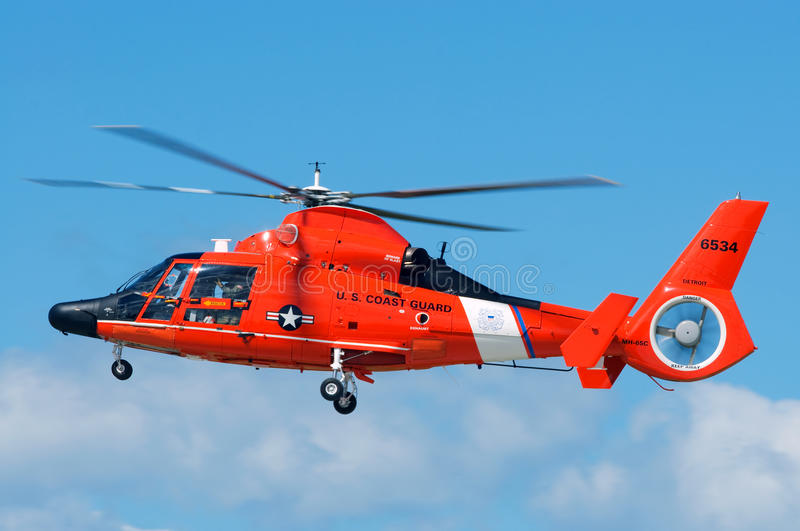Coast Guard Rescue Helicopter. CLEVELAND, OHIO - SEPT 5th: The US Coast Guard Dolphin Helicopter makes a pass at the Cleveland National Airshow SEPTEMBER 5, 2010 stock image