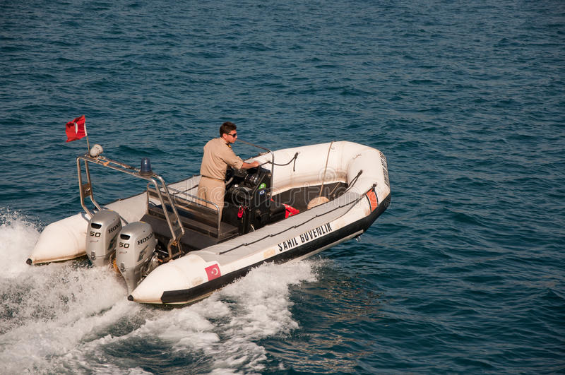 Coast guard. The coast guard of Turkey in Antalya stock images