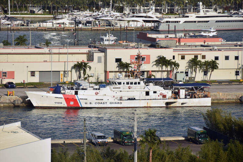 Coast Guard vessel in Miami, Florida. Miami, USA - January 5, 2017: US Coast Guard vessels prepares for patrol from its home base in Miami. Vessels perform stock photo
