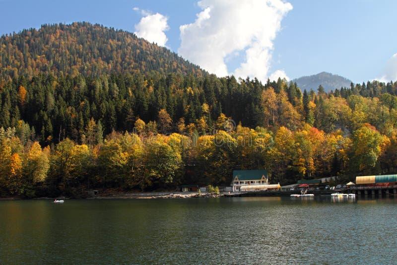 The coast of the high-altitude lake Ritsa royalty free stock photo