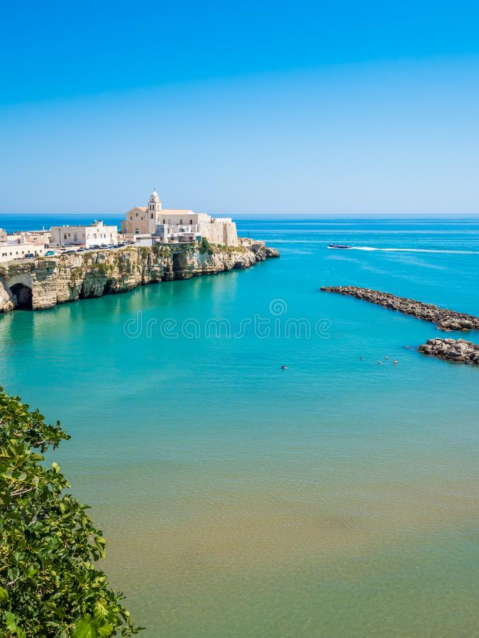 The coast and the houses of Vieste, Gargano, Puglia. The coast of Gargano houses numerous beaches and tourist facilities stock photography