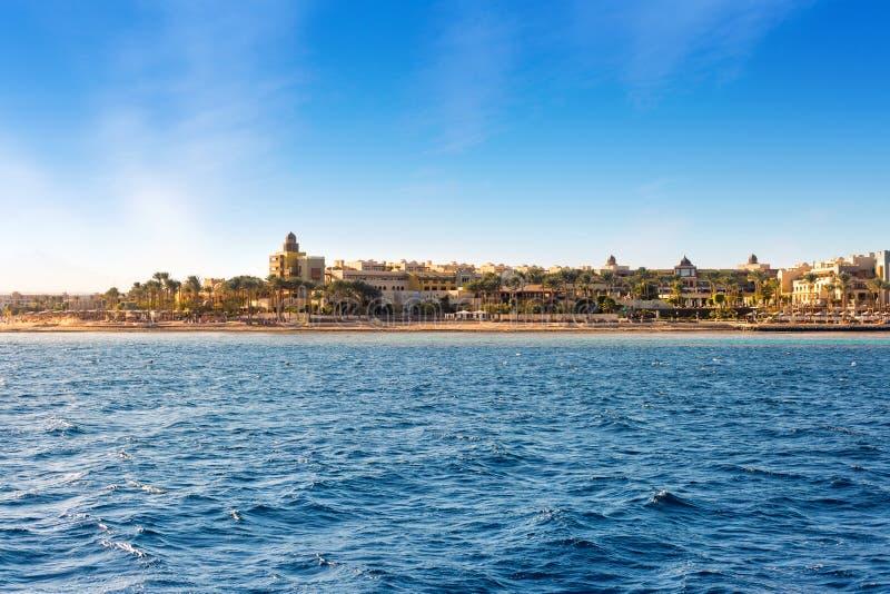 Coast of Hurghada morning in summer, Egypt stock photos