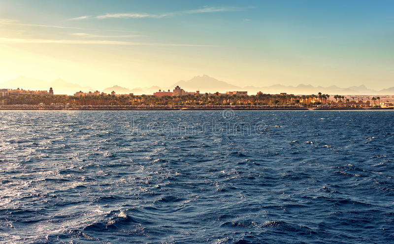 Coast of Hurghada at sunset in summer royalty free stock photo
