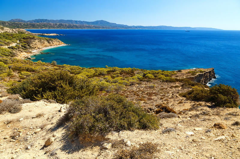 Coast of the island Rhodes, the Aegean sea, a beautiful Bay for swimming, view from above stock photos