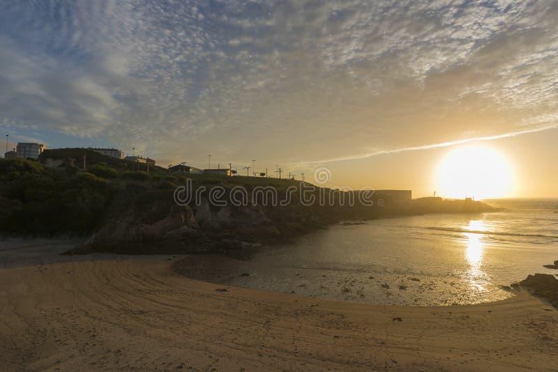 Coast of La Coruna, Spain. Sunset in Lapas beach La Coruna, Spain royalty free stock photography