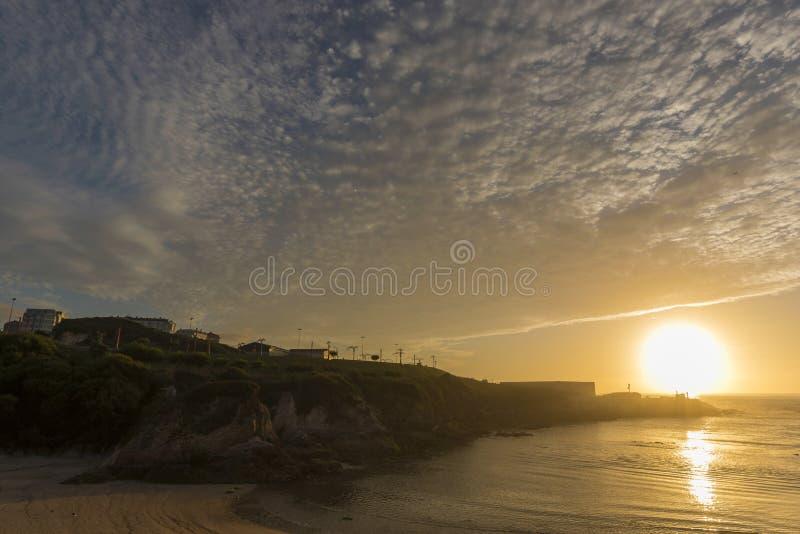 Coast of La Coruna, Spain. Sunset in Lapas beach La Coruna, Spain stock photo