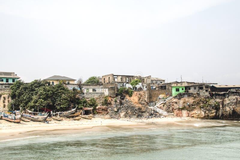 The coast line of Jamestown, Accra, Ghana. The coast line of the fishing village of Jamestown, Accra, Ghana, in the Gulf of Guinea stock photo