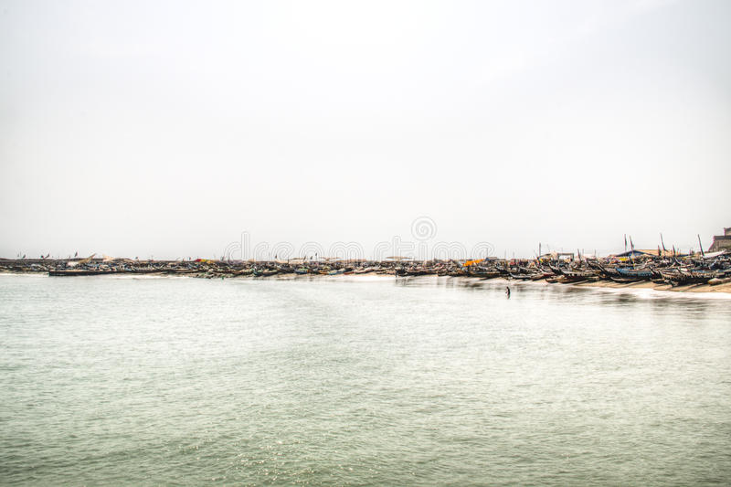 The coast line of Jamestown, Accra, Ghana. The coast line of the fishing village of Jamestown, Accra, Ghana, in the Gulf of Guinea royalty free stock photo
