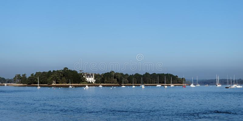 Coast of Loctudy. Benodet bay in finistere coast royalty free stock photography