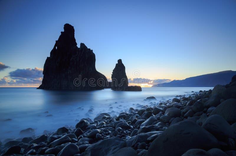 Coast of Madeira. Atlantic Ocean and the Madeira coast at Ribeira da Janela royalty free stock photography
