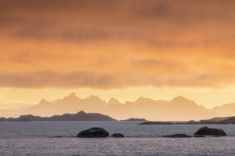 Coast of the of Norwegian fjords at sunset near Tromso Norway. Winter morning after sunrise. Lofoten. Christmas time. stock image
