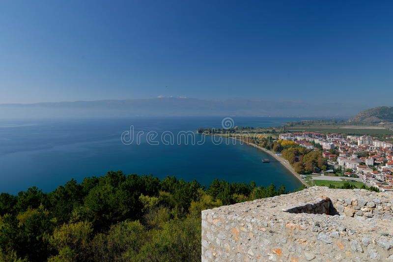Coast of Ohrid lake from the fortress. Republic of Macedonia royalty free stock photography