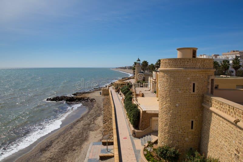 Coast path and Roquetas del Mar castle de Santa Ana Costa de Almería, Andalucía Spain. With beautiful blue sky and sea royalty free stock images