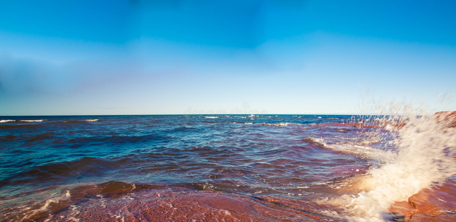 Coast of prince edward island. The atlantic ocean of the coast of prince edward island stock photo