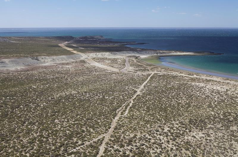 Coast after Punta Loma near Puerto Madryn, a city in Chubut Province, Patagonia, Argentina stock image