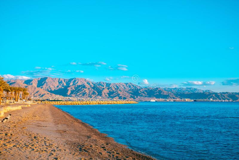 Beach in Eilat, Israel. Coast of the Red Sea. Beach in Eilat, Israel royalty free stock photos