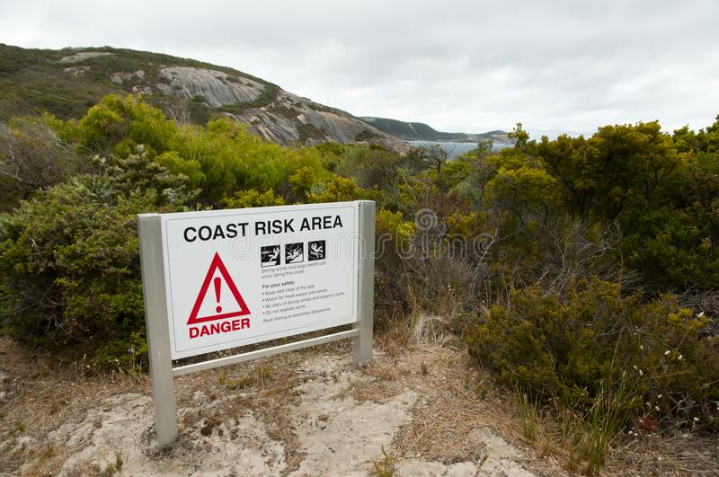 Coast Risk Area. Sign - Australia royalty free stock images