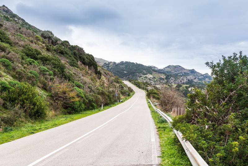 Coast road Sardinia, IItaly stock image