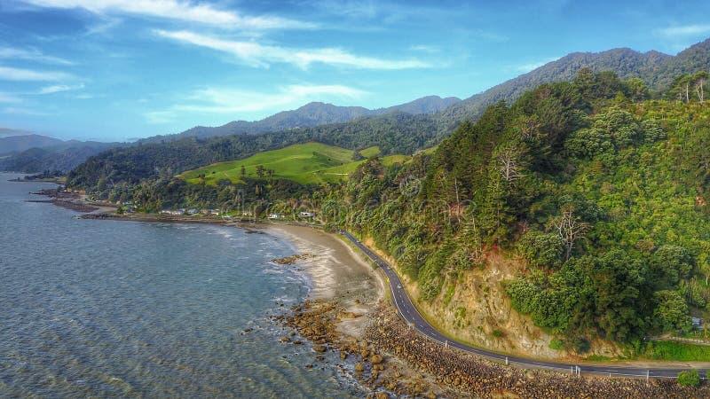 Coast road in Thames, New Zealand stock photos