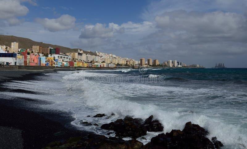 Coast and city, Las Palmas de Gran Canaria. Coast with rough sea and city, bay of Las Palmas de Gran Canaria, Canary Islands stock photos