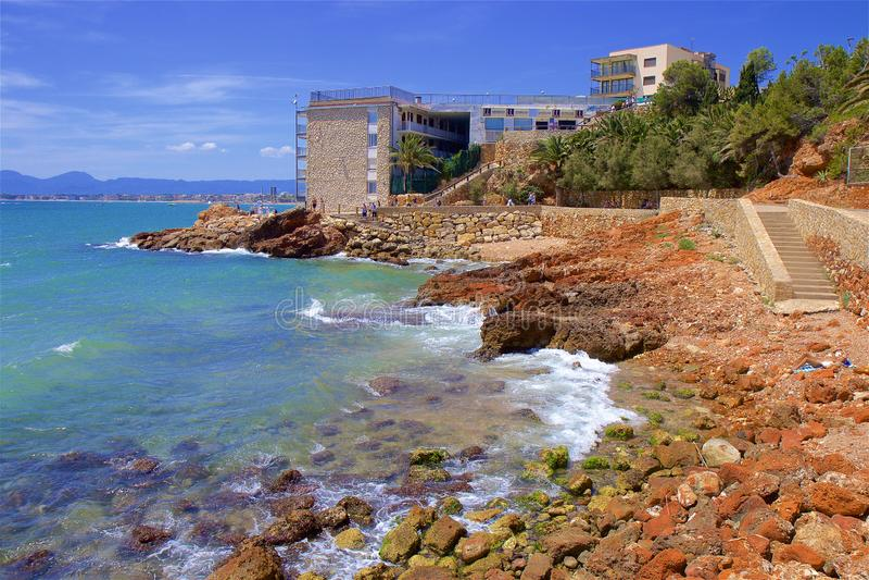 Coast in Salou, Costa Daurada, Spain royalty free stock photography