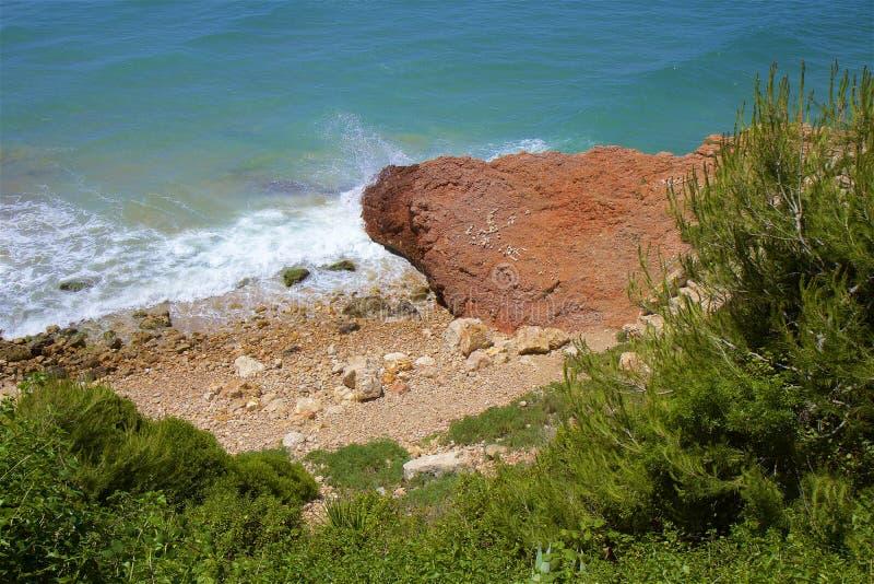 Coast in Salou, Costa Daurada, Spain. Beautiful sea front and beaches in Salou, Costa Daurada, Spain royalty free stock photo