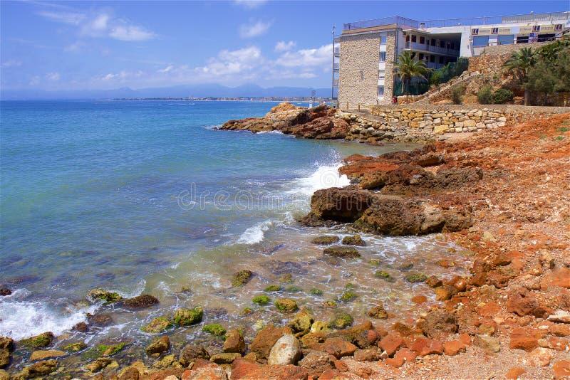 Coast in Salou, Costa Daurada, Spain. Beautiful sea front and beaches in Salou, Costa Daurada, Spain royalty free stock image