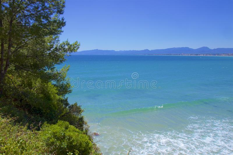 Coast in Salou, Costa Daurada, Spain. Beautiful sea front and beaches in Salou, Costa Daurada, Spain stock photography