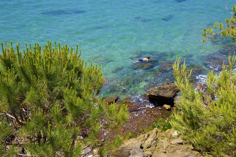 Coast in Salou, Costa Daurada, Spain. Beautiful sea front and beaches in Salou, Costa Daurada, Spain stock photos
