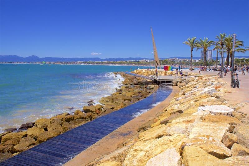 Coast in Salou, Costa Daurada, Spain. Beautiful sea front and beaches in Salou, Costa Daurada, Spain royalty free stock images