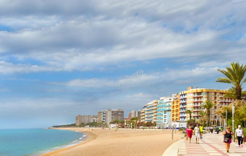 Coast of sandy beach resort Blanes Catalonia Spain royalty free stock images