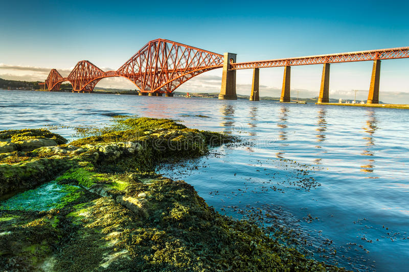 Coast in Scotland near the Firth of Forth Bridge royalty free stock photography