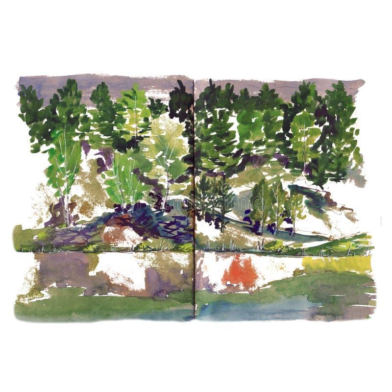 Coast Seeflussteich Aquarell-Skizze Bäume stockbilder