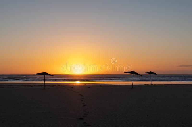 Coast of Sidi Kaouki, Morocco, Africa. Sunset time. morocco`s wonderfully surf town. Coast of Sidi Kaouki, Morocco, Africa. Sunset time. morocco`s wonderfully royalty free stock image