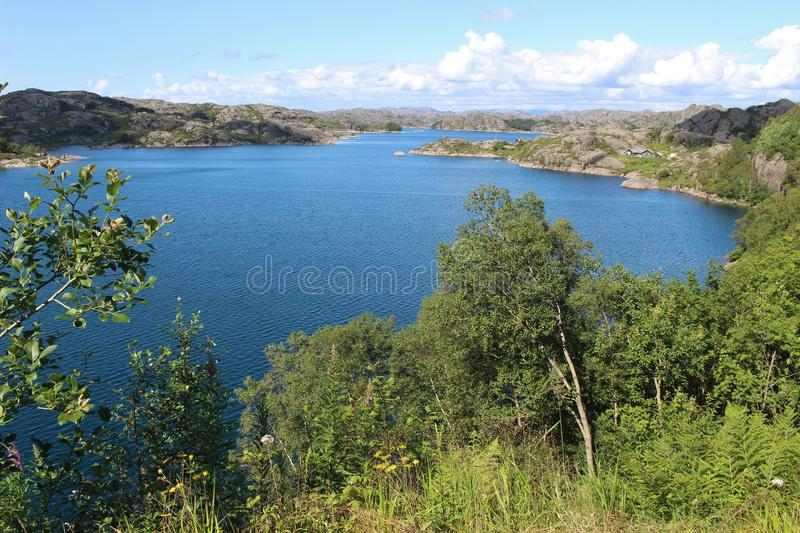 On the coast in Southwest Norway, Europe. On the coast near Eigeroya, south from Stavanger: A beautiful and varied coastal landscape with many small islands royalty free stock photos