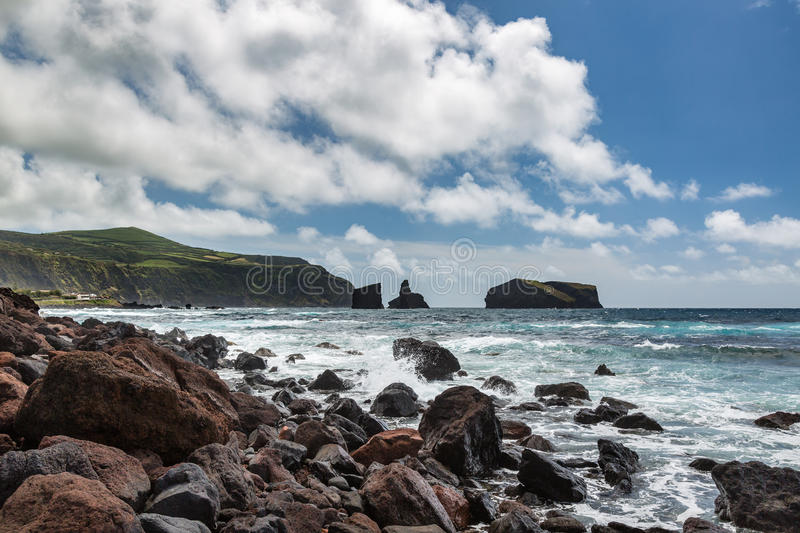 Coast by the town of Mosteiros on the island of Sao Miguel. stock photography