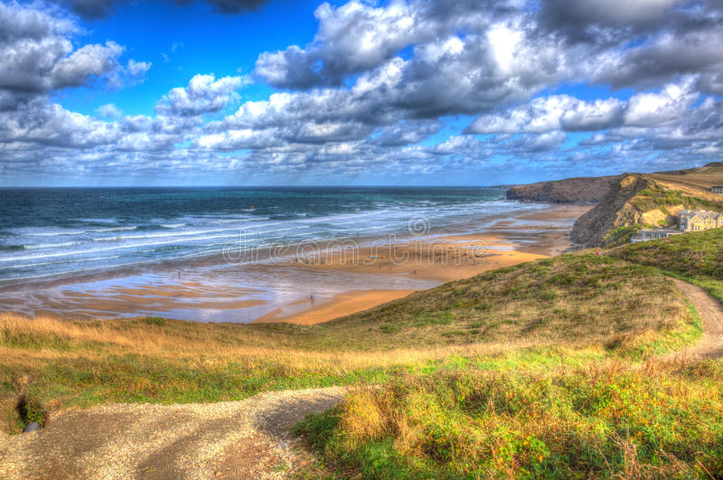 Coast at Watergate Bay Cornwall England UK between Newquay and Padstow in colourful HDR. Watergate Bay Cornwall England UK Cornish north coast between Newquay stock images