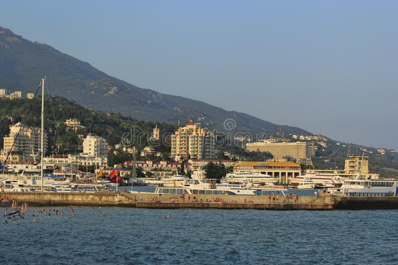 The coast of Yalta, view from the central embankment royalty free stock photos