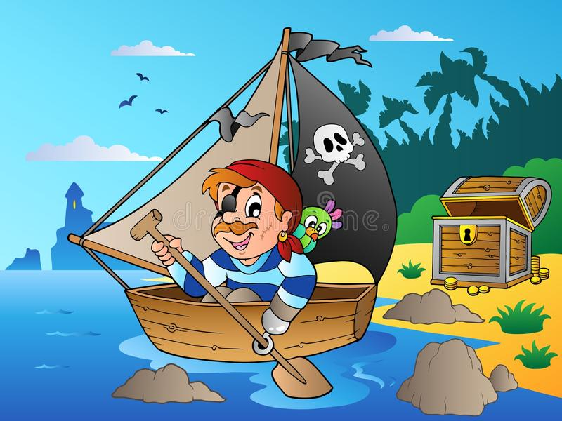 Download Coast With Young Cartoon Pirate 1 Stock Vector - Image: 20511596