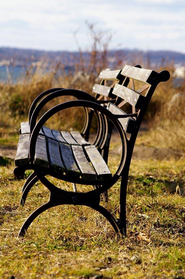 Coastal bench stock image