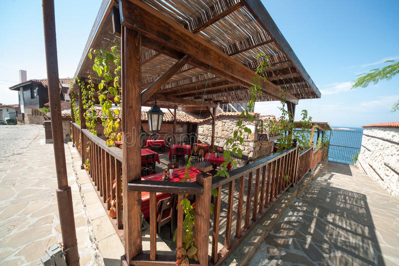 A coastal Cafe in Sozopol in Bulgaria stock image