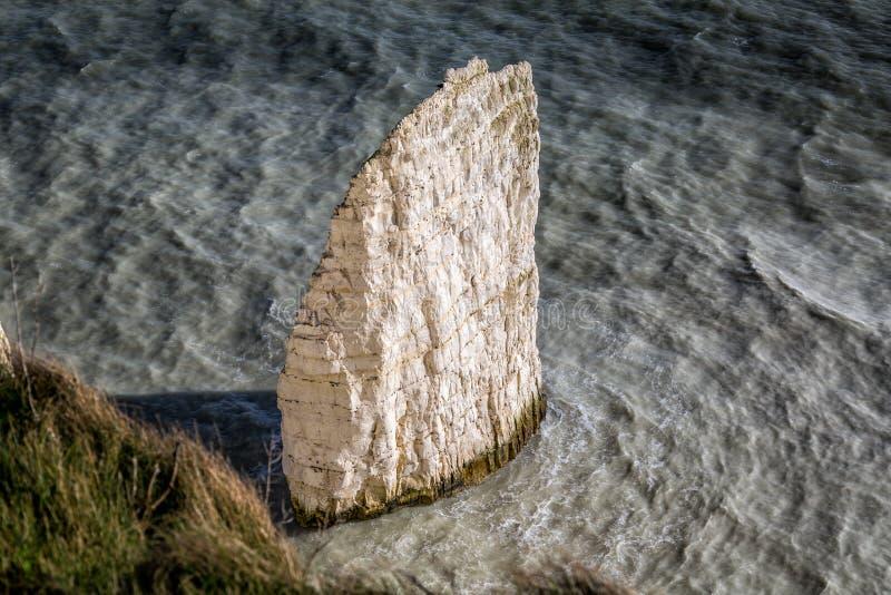 Coastal chalk sea stack near Old Harry Rocks, Swanage, Dorset, UK. On 21 February 2014 stock images
