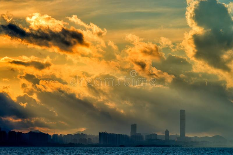 Coastal city landscape sunrise laser light stock images