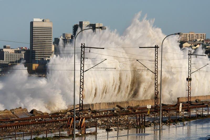 Coastal City Storm Waves royalty free stock photo