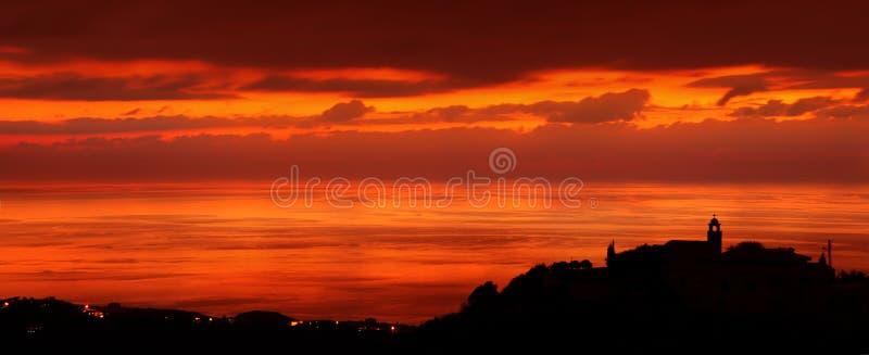 Coastal city in sunset light royalty free stock photo
