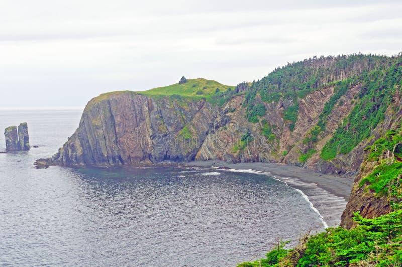 Coastal Cliffs on a foggy day stock photos