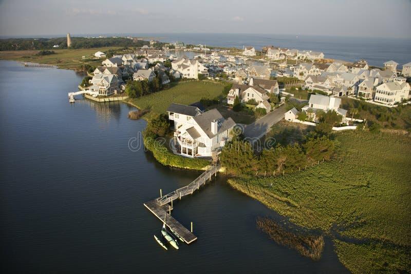 Coastal community. Aerial view of coastal residential community on Bald Head Island, North Carolina stock image